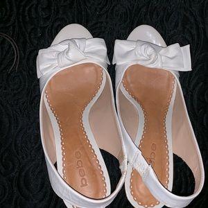 Bebe White Stiletto Heels with Bowtie Details